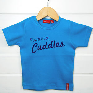 Personalised Powered By Cuddles T Shirt - t-shirts & tops