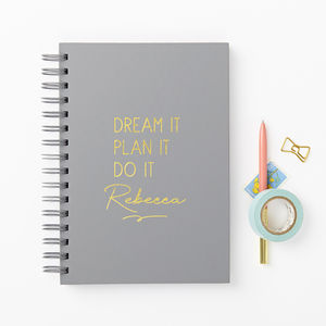 'Dream It' Foiled Hardback Diary And Planner - notebooks & journals