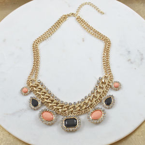 Peaches And Crystal Statement Necklace - women's jewellery