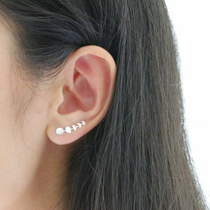 Silver Five Phases Of Moon Ear Climbers