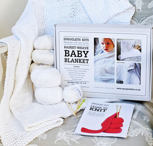 Baby Blanket Beginners Knitting Kit 100% Cotton