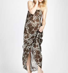 Semi Sheer Floral Print Silk Chiffon Maxi Dress - dresses
