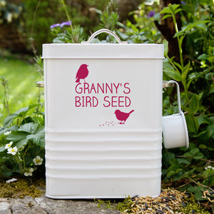 Personalised Bird Food Storage Tin - mother's day gifts