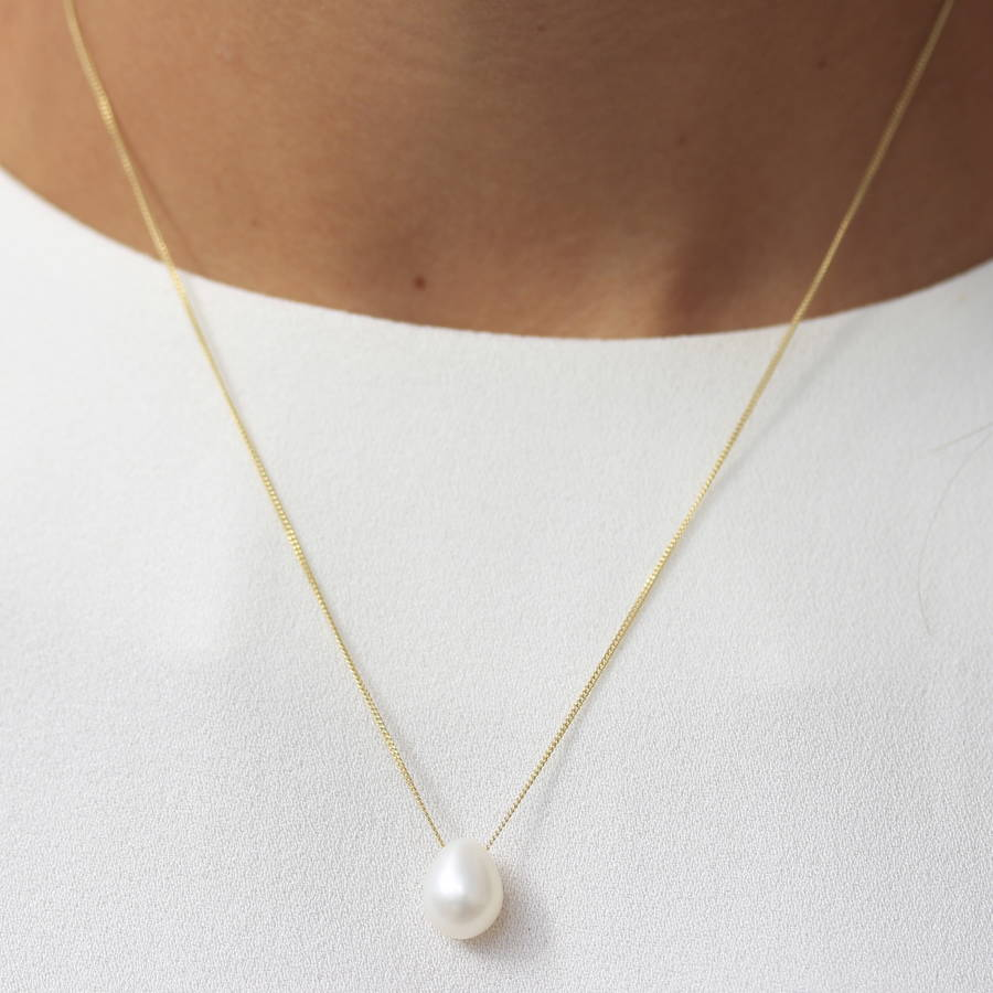 white teardrop pearl necklace by molly  u0026 pearl