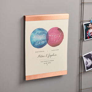 Personalised Couples Constellation Copper Canvas Print - gifts for couples