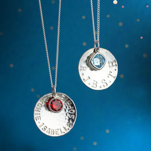 Personalised Silver Charm And Birthstone Necklace