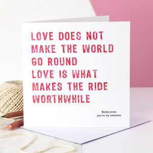 Personalised Valentine Card; Love Makes The Ride
