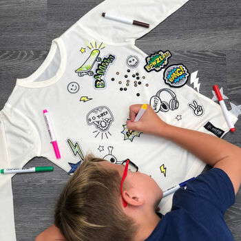 Street Embellishment Top With Patches And Fabric Pens