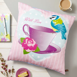 Tea Cup And Bird Vintage Cushion - bedroom