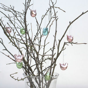 Iridescent Glass Bird Hanging Decorations