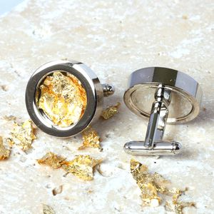 Steel And Gold Leaf Cufflinks