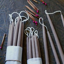 Mini Taper Candles, Set Of Ten Taupe
