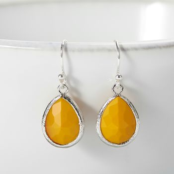 Silver Plated Ochre Yellow Teardrop Earrings