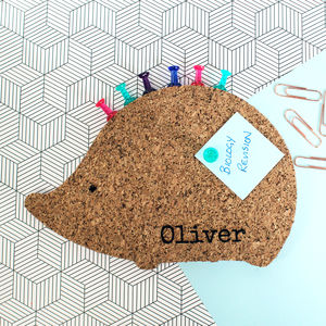 Personalised Cork Memoboard Hedgehog