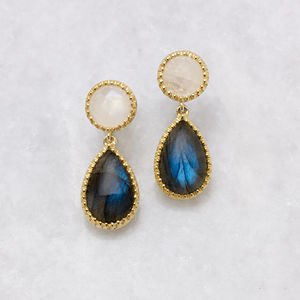 18ct Gold Vermeil Beaded Cocktail Earrings - fine jewellery
