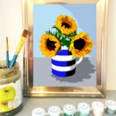 Painting by numbers sunflower framed
