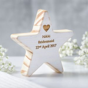 Personalised Bridesmaid Thank You Wooden Star Keepsake - thank you gifts