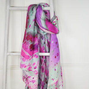 Quartz Purple And Aqua Marble Print Silk Scarf