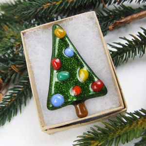 Handmade Glass Christmas Tree Brooch - pins & brooches