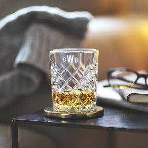Personalised Monogram Cut Glass Tumbler - gifts for him