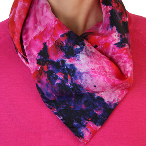 Pink And Blue Quartz Silk Scarf