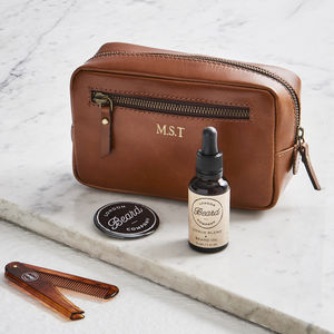 Beard Grooming Kit And Leather Wash Bag - grooming