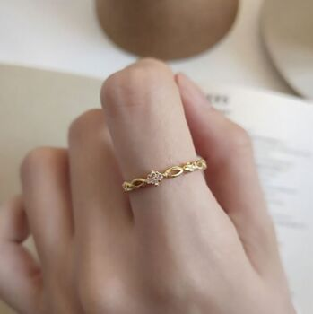 18k Gold Vermeil Dainty Galactic Ring