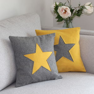 Vibrant Handmade Wool Cushion With Star
