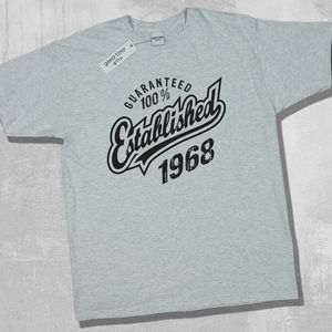 'Established 1968' 50th Birthday T Shirt - 50th birthday gifts