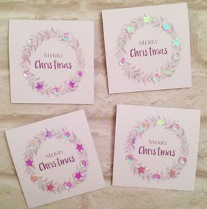 Sequin Wreath Mini Christmas Card Pack Of Eight