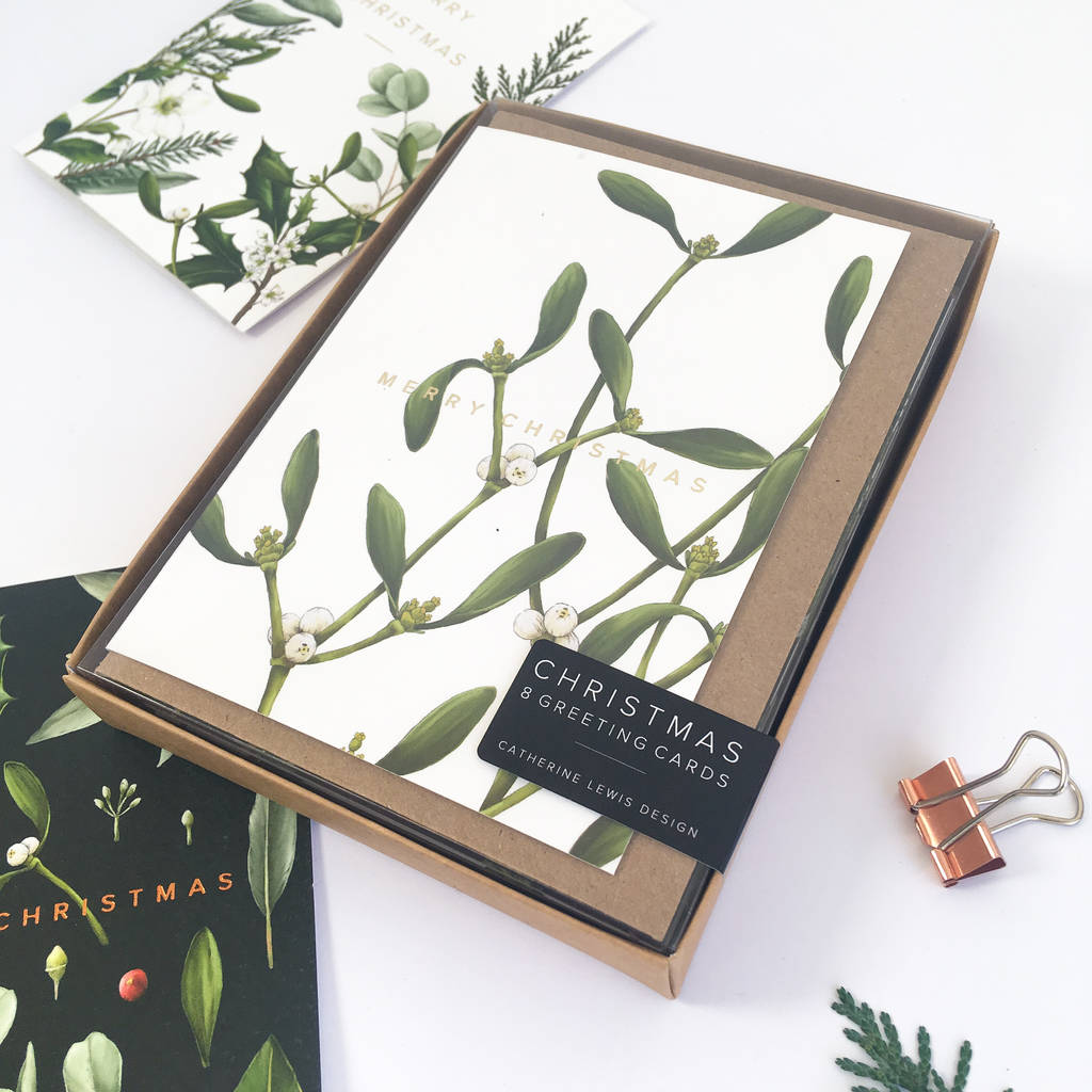 box of eight botanical christmas cards greenery by catherine lewis ...