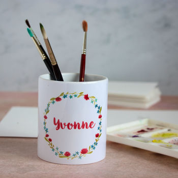 Personalised Floral Wreath Pen Pot