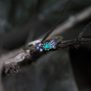 Green Quartz Vintage Style Silver Ring