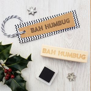 Bah Humbug Christmas Neon Sign Rubber Stamp