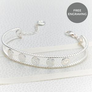 Personalised Her World Bangle With Symbol Engraving