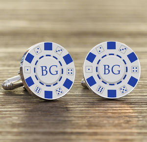 Personalised Silver Poker Chip Cufflinks - men's accessories