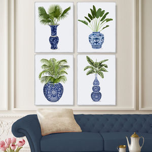 Chinoiserie Vases, Set Of Four Botanical Art Prints