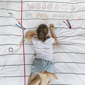 Doodle Duvet Cover Single, To Personalise + 10 Pens