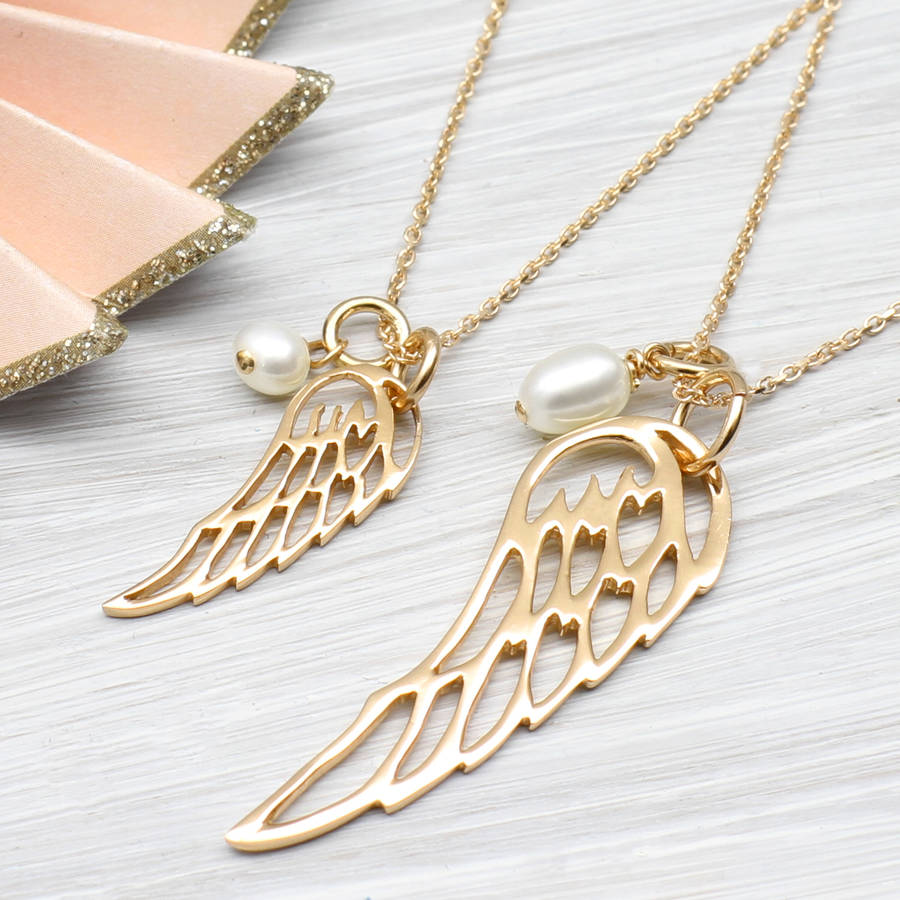 memorial necklace heart on mod jewellery wings angel hand wing