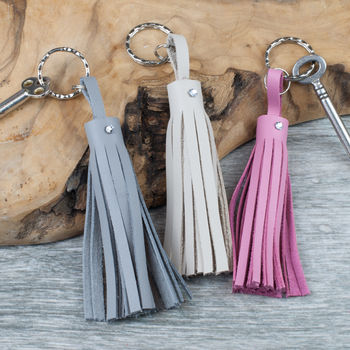 Leather Tassel Keyring/Bag Charm With Swarovski Crystal