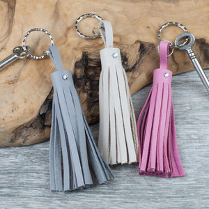 Leather Tassel Keyring/Bag Charm With Swarovski Crystal - keyrings