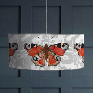 Peacock Butterfly Print Botanical Lampshade - lighting