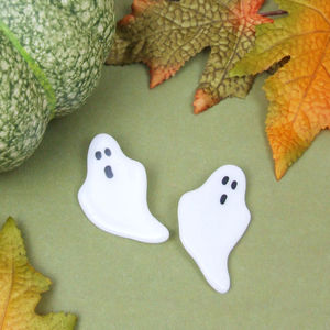 Handmade Glass Halloween Ghost Brooch