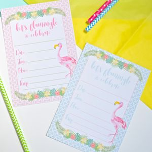 'Let's Flamingle' Party Invitations Pack Of Eight - adults party invitations