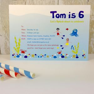 16 Swimming Party Invitations Or Thank You Cards