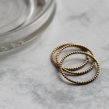 Beaded Stacking Ring Set Gold Fill