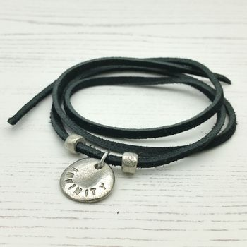 Personalised Disc Suede Wrist Wrap Or Necklace