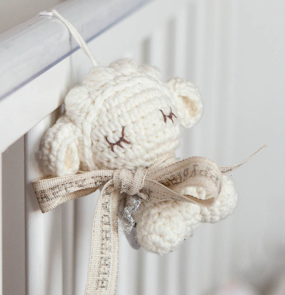 Personalised Tiny Lamb Soft Toy Hanging Decoration by Oh My Giddy Aunt!