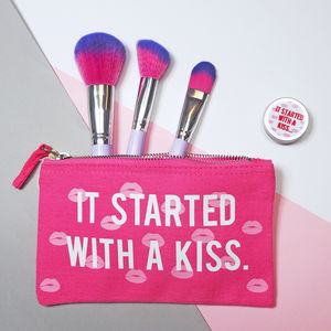 It Started With A Kiss Make Up Bag And Lip Balm Set