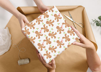Personalised Christmas Ginger Bread Man Wrapping Paper